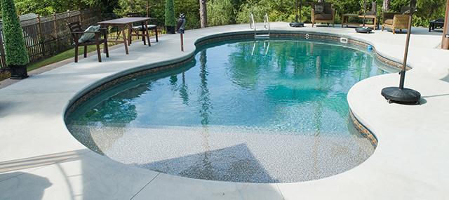 vinyl sundeck in pool