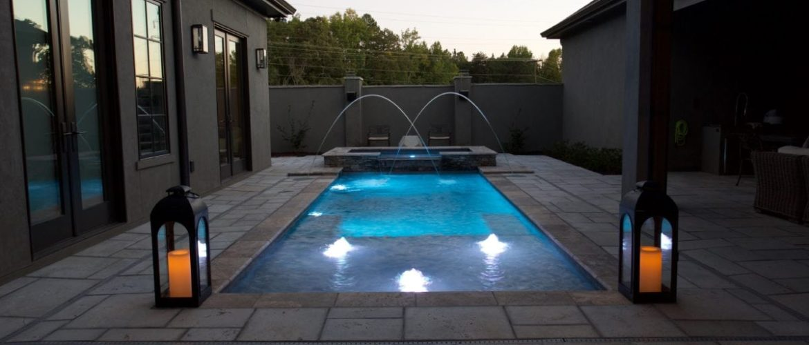 Pool & Spa with LED Bubblers