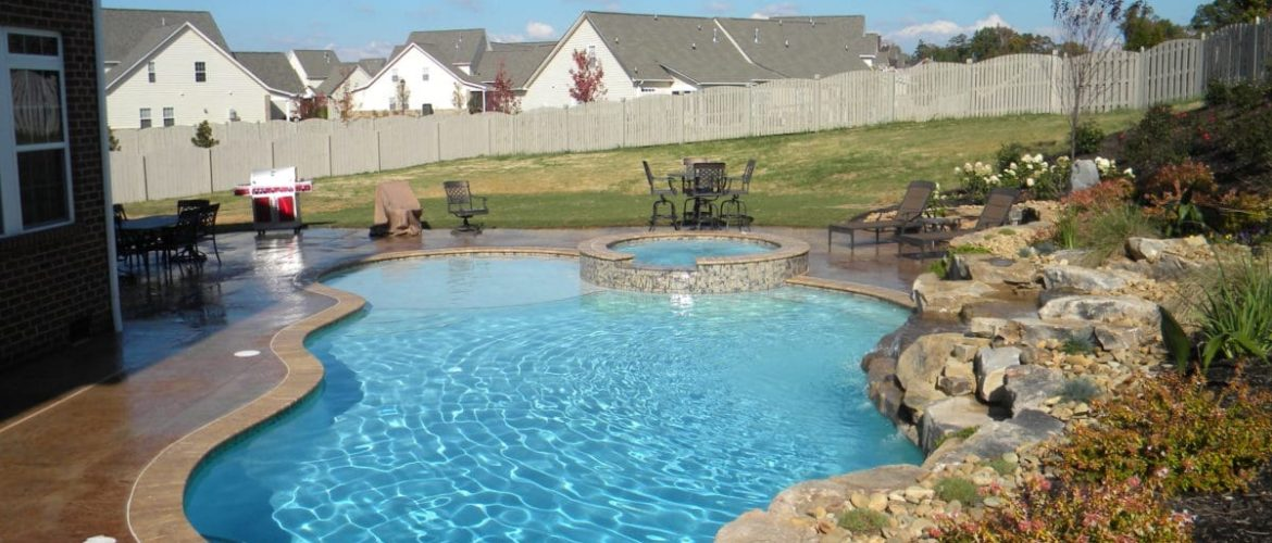 Gunite Pool & Spa w/ Rock Waterfall